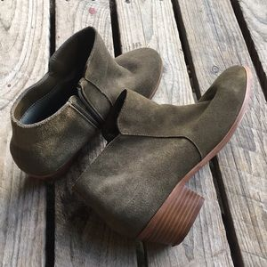 Ecote Faux Suede Heel Booties, Size 10